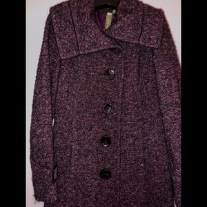 SOIA & KYO Wool Blend Purple Tweed Trench Coat